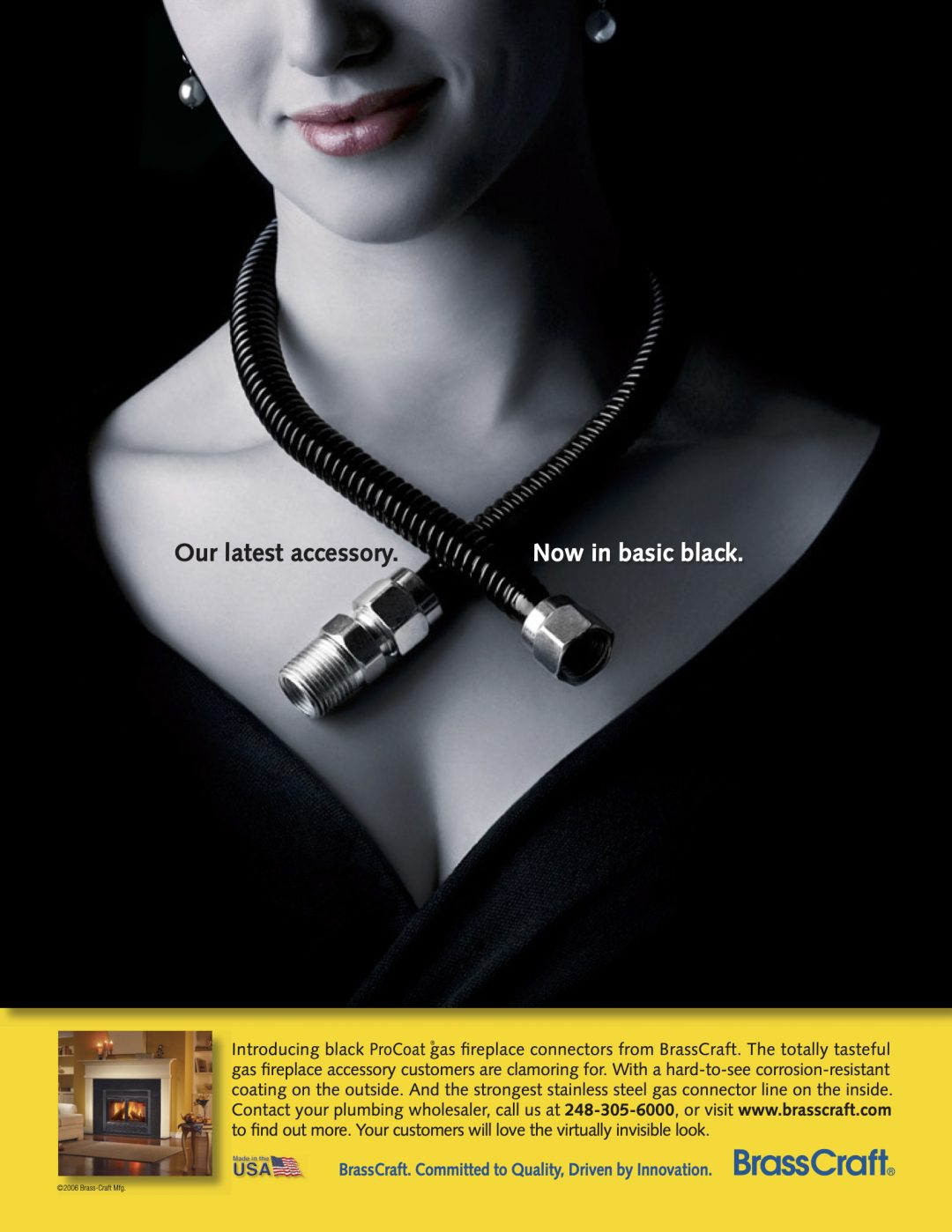 BrassCraft Ad - Fireplace connector shown as necklace around lady's neck